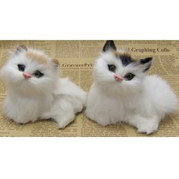 Discount furry toys - 2 Pieces Cute Realistic Lifelike Cat Kitten Toys Furry Ornament Kids Gifts Yellow & Black Forehead