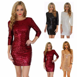 Wholesale sequin briefs for sale – plus size Sexy Dress for Women O Neck Long Sleeve paillette Sequins Backless Bodycon Slim Pencil Party Dresses Y190117