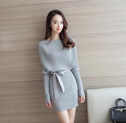 mini long loose sweater dresses Australia - New autumn long dress sexy bag hip pullover sweater women's bottoming shirt loose sweater skirt