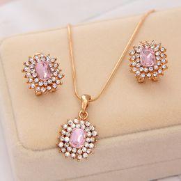 $enCountryForm.capitalKeyWord Australia - Luxury Square Rhinestone Wedding Jewelry Sets For Bridesmaids Full Crystal Long Chain Pink Stone Necklaces& Pendants Earring Set