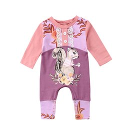 $enCountryForm.capitalKeyWord UK - Cute Newborn Baby Girl Floral Clothes Long Sleeve Cartoon Animal Squirrel Print Toddler Kids Jumpsuit Lace Romper Outfit