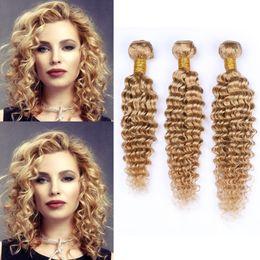 26 Inch Deep Wavy Hair Australia - Popular Selling Deep Wave Wavy Brazilian Virgin Human Hair Extensions Strawberry Blonde 27 Hair Weft Deep Curly Hair 3Bundles 10-30 Inch