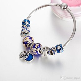 Silver Bracelet For Beads Australia - High quality Silver Blue Enamel Star and Moon Vintage Bangle Bracelet DIY Jewelry For Women Beads Bracelets