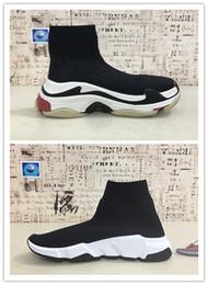 Speed S online shopping - 2019 HOT Triple S Paris Speed Runner Knit Deep blue Sock ShoeS Original Luxury Trainer Runner Sneakers Race Mens Women Sports Shoes