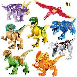 $enCountryForm.capitalKeyWord NZ - 8pcs Jurassic World Dinosaur Blocks Park Movie Triceratops Tyrannosaurus Velociraptor Model Building Blocks Kids Toys Mini figures MMA1498
