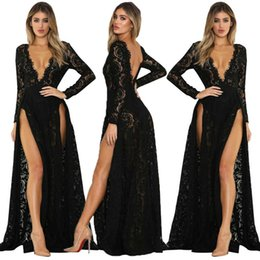 female sexy models Australia - Women Sexy Lace Long Sleeve prom Dress Beach Vintage Maxi Dresses Boho Casual V Neck Hollow Out Formal Party Plus Size Female Dress