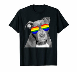 Wholesale 5xl dog clothes for sale – custom Pitbull Pride Dog Clothing Lgbt Funny Rainbow Flag T Shirt Tee Trend Fashion High Quality Personality Design T Shirt