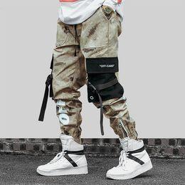 Ingrosso Pantaloni Hip Hop Streetwear da uomo Pantaloni mimetici da uomo 2019SS Nastri Pantaloni cargo da uomo in cotone Pantaloni elastici da uomo Harem