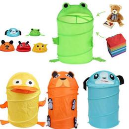 $enCountryForm.capitalKeyWord NZ - Toy Container Toy Storage Box Folding Bucket Laundry Cylinder Basket for Toys Cute Cartoon Animal Beetle Frog