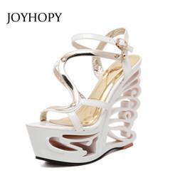 Men Patent Leather Sandal Australia - JOYHOPY Summer Fashion Patent Leather Gladiator Sandals Women Buckle Strap Super High Heels wedges Platform Shoes Woman WS1650