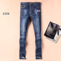 men pants italy Australia - Snake tiger bee embroidery jeans men designer pant clothing mens fashion skinny pants jeans Italy designer jeans men fashion pants wholesale