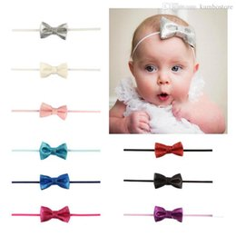 $enCountryForm.capitalKeyWord Australia - 10 Style Handmade Boutique Nylon Headband with Fabric Bow for Baby Girls Hair Accessories Hair Flowers Head Band Wholesales