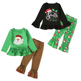 $enCountryForm.capitalKeyWord Australia - kids designer clothes girls Christmas outfits children Santa Claus dress tops+stripe pants 2pcs set Xmas Spring Autum baby Clothing Sets