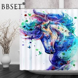 fairy bathroom decor UK - Watercolor Horse Shower Curtain Fantasy Fairy Tale Animal Forest Pattern Waterproof Multi-size Cortina De Bano Bathroom Decor