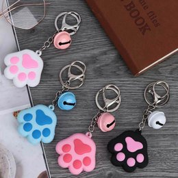 $enCountryForm.capitalKeyWord NZ - Fashion Women Keychain Creative Three-Dimensional Cute Cat Claw Key Chain Soft Rubber Bell Car Bag Pendant Key Ring Pendant Gift