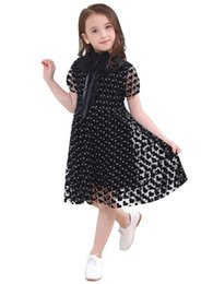 love boat clothing Canada - Retail Black White Love Heart Princess Girls Dresses Children Summer Girl Mesh Short Sleeve Dress Kids Clothes A258