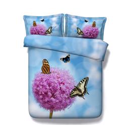 Girls Pink Bedding Sets Australia - Blue bedspread Pink Flower Colorful Butterfly Duvet Cover Set 3 Piece Comforter Cover With 2 Pillow Shams Bedding Sets Kid Teen Girls