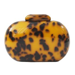 oval evening bag Australia - Oval Ladies Clutch Leopard Acrylic paint Open bag Purse Frame Lock Smooth hand Western Style Fashion evening bag Lady portable Clutch Bag