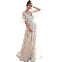 Chinese  Prom Dresses Women Deep V Neck Sexy Backless White Lace Flare Sleeve Wedding Bridesmaid Evening Party Cocktail Fashion Dress 6795 manufacturers
