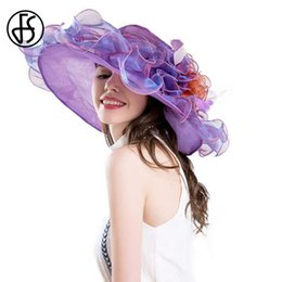 $enCountryForm.capitalKeyWord Australia - wholesale Hats For Women Fashion Organza Sun Hat Summer Wide Large Brim Beach Sombrero Big Flower Caps For Elegant Ladies