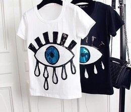 $enCountryForm.capitalKeyWord Australia - Big Eyes Womens Designer Tshirts Fashion Applique Embroidery Tops Short Sleeved Shirts Cute Casual Girls Undershirt