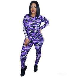 camouflage tracksuit wholesale UK - women Camo outfits 2 piece set hoodie leggings tracksuit camouflage sportswear clothes pullover pants sweatsuit