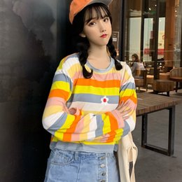 Wholesale korean style autumn clothing for sale – oversize Harajuku T shirt Autumn T shirt Korean Style Kawaii Embroidered T Shirts Casual Long Sleeve Women Tops Clothes