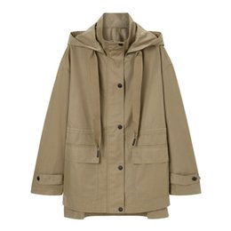 women s slim fit trench Canada - OMIKRON New Fashion Soft Khaki Women Short Hooded Trench Button Winter Warm Coat Classic Casual Slim Fitting Designer Overcoat