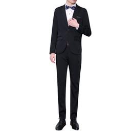 $enCountryForm.capitalKeyWord Australia - WL Black Fashion 2-Piece Two Buttons Lapel Coat Long Pants Men's Business Formal Slim Suit Outfit 2019