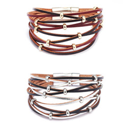 Wholesale Women Multi Layer Leather Wrap Bracelet Handmade Wristband Braided Rope Cuff Bangle with Buckle Designer Jewelry Gift