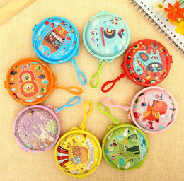 Kids case holder online shopping - Cartoon crocodile Round Coin Bag Farm Animals fox Hare Organizer Holder Case Gift Wrap kids Birthday Party Favor