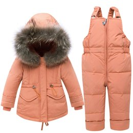 BaBy warmer suit online shopping - Winter Thicken Warm Children Snowsuit Baby Down Jacket Suit Duck Down Pants Jacket for Baby Girls Boys Coat Outdoor Clothes