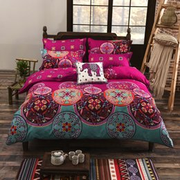 Discount pink floral full size bedding - Puredown Bohemian Style Bedding set Floral Printed Bed linens Twin Queen King Size 4pcs Duvet Cover Flat Sheet Pillow ca