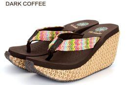 $enCountryForm.capitalKeyWord Australia - New Bohemian Super High-heeled Sandals and Slippers Female Wedges with Summer Non-slip Waterproof Tables Beach Flip-Flops mm