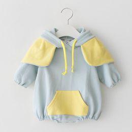 $enCountryForm.capitalKeyWord Australia - Wholesale 2019 New Spring Autumn Baby Girl Bodysuit Elephant Ears Long Sleeve Cotton Jumpsuit Infant Clothing Pink Blue E91021