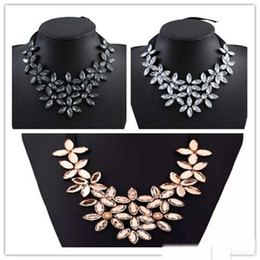 $enCountryForm.capitalKeyWord NZ - New Punk Chunky Ribbon Chain Short Necklace Crystal Multi Layer Flower Choker Bib Collar Necklaces For Women 3 Colors