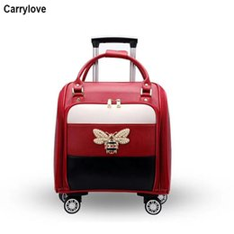 "spinner red Australia - CARRYLOVE 16"" inch women leather suitcase spinner Small cute cabin rolling luggage for girls"