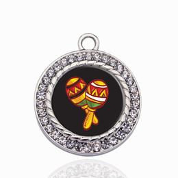 Number Connectors Australia - Maracas Circle Charm Copper Pendant For Necklace Bracelet Connector Women Gift Jewelry Accessories