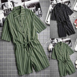 Jumpsuit Men Xs Australia - Male Playsuit Overalls Fashion Striped Jumpsuits Baggy Summer Casual Pants Cool Jumpsuit Men Sweatpants Men Overalls Coverall