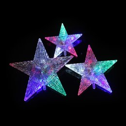 flashing christmas stars NZ - LED Colorful Flashing Star Christmas Tree Toppers battery 5 Lamps Acrylic crystal Glitter Christmas Tree Top Decoration for Home
