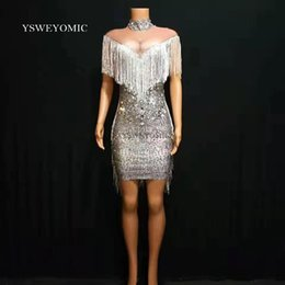 prom dancing dress Canada - Grey Fashion Pearls Rhinestones Dress Evening Party Wear Long Sleeves Prom Nude Gray Dress Singer Birthday Celebrate Dresses