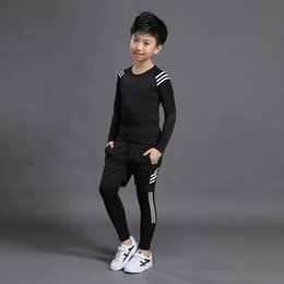sports baseball uniform Canada - Football shirt 2019 boy thermal underwear children football training basketball uniform children burst suit sports suit