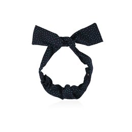 China wholesale Bow Knot Headband Women Fashion DIY Polka Dot Hairband Dark Blue Knotted Hair Band Headwraps Hair Accessories for Girls supplier polka dot bow hair bands suppliers
