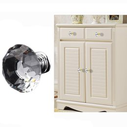 Pull Handles Crystals Australia - Drawer Knobs Kitchen Furniture Cabinet Handles Delicate Crystal Glass Knobs Cupboard Pulls 30mm Diamond Shape Design Handles DH0921