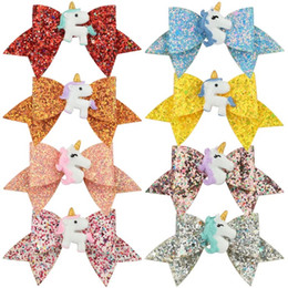 Headbands Bow Australia - Free DHL New INS About 3.5inch Kids Girls Hair Barrettes Fruits Unicorn Rainbow Sequins Bows Hair Clippers Mermaid Clips Hair Accessories