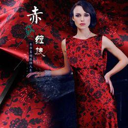 $enCountryForm.capitalKeyWord Australia - Blue Branches Print Red Elastic Mulberry Silk Fabric By Meter Width 46 Inch Cheongsam Material Vintage