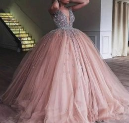 ArAbic girls dress dubAi online shopping - New Arrival Sheer V Neck Champagne Pink Quinceanera Dress Beaded Ruffle Princess Arabic Dubai Sweet Girls Prom Party Pageant Gown