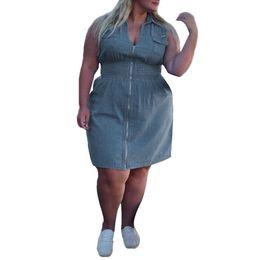94328100e30 Casual Plus Size Demin Shirt Mini Dress For Women Big Size Zipper Up  Sleeveless Ladies Summer Jean Short Dresses Vestido Corto 2