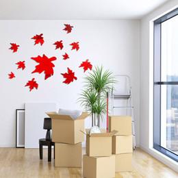 Mirror Arts Australia - 1set Wall Sticker Maple Leaf Shape Mirror Surface Art Wall Decal for Home J2Y