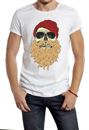 Discount sunglasses skull - HIPSTER T-SHIRT Beard Skull Punk With Sunglasses TEE Novelty Printed YOLO WHITE